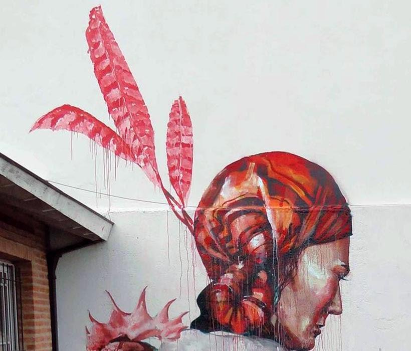 """The Displaced"" a new street art piece by Australian artist Fintan Magee. close up"