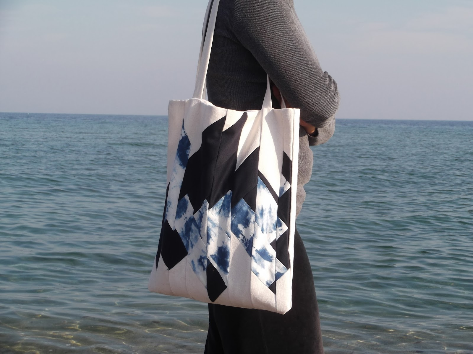 Tote bag, shibori tote bag, shibori bag, shibori, modern patchwork, contemporary patchwork