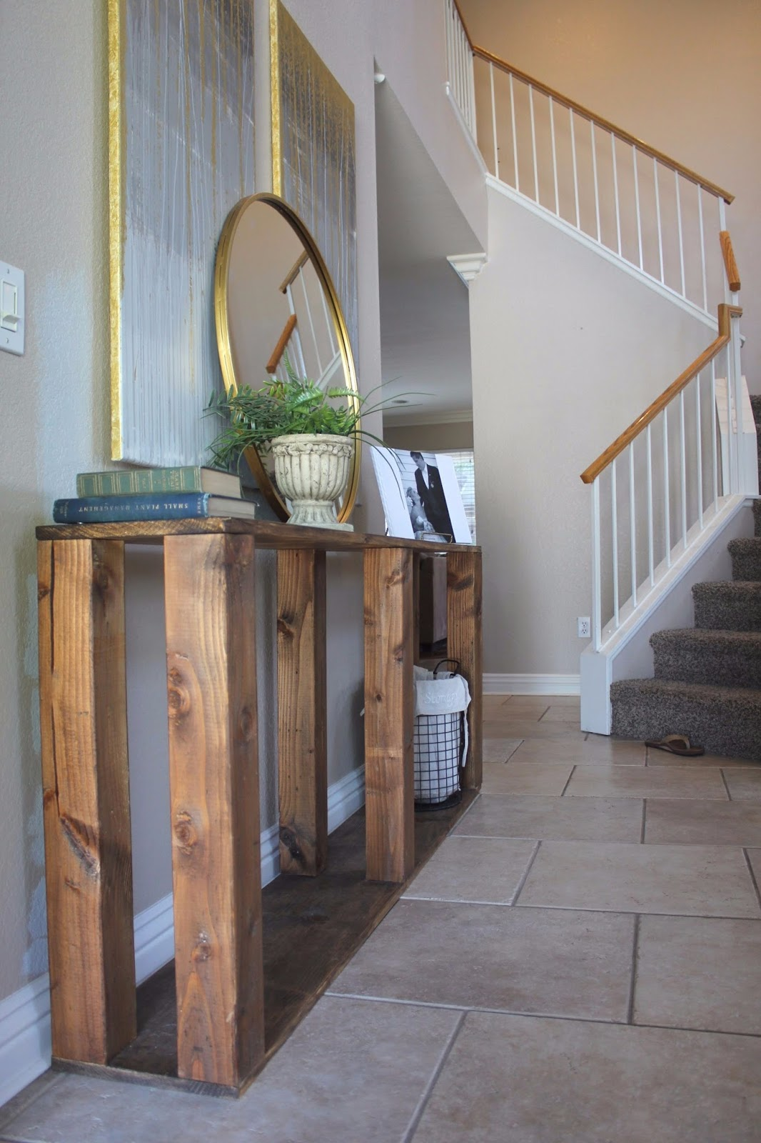 Mini house mighty hearts diy restoration hardware console table heres a table i made with my bare hands but really i just wanted an entryway table in our old house geotapseo Image collections