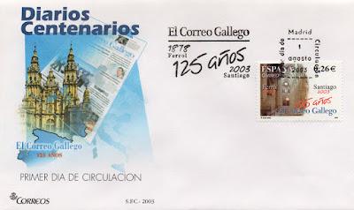 Sobre PDC del sello del 2003 dedicado al diario centenario de El Correo Gallego