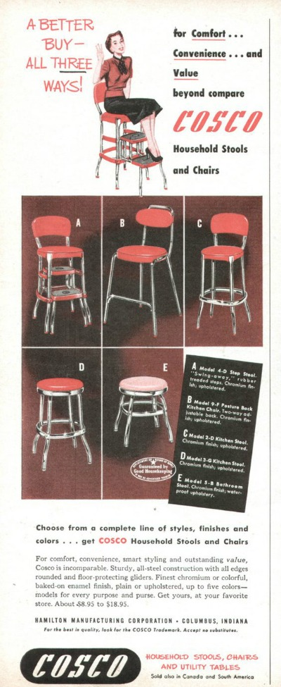 Magazine Ad showing woman with various foot stools and utility tables from Cosco Stool and Utility Table Ad from 1951