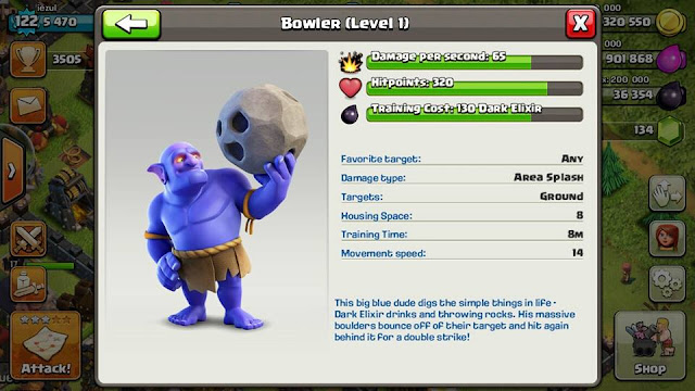 update clash of clans dengan pasukan baru yaitu bowler