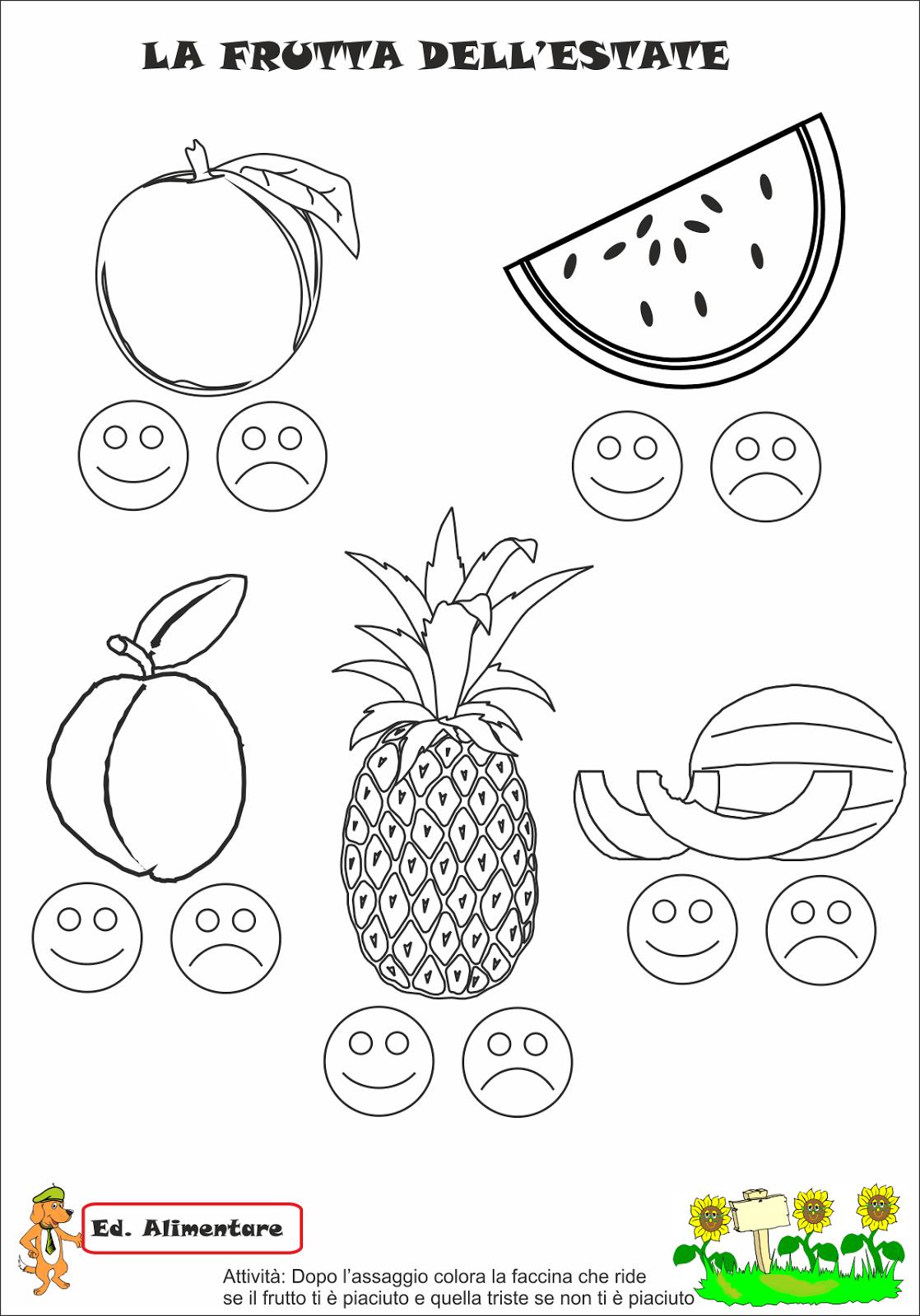 Disegni Da Colorare Frutta Di Primavera.Immagini Di Frutta Da Colorare