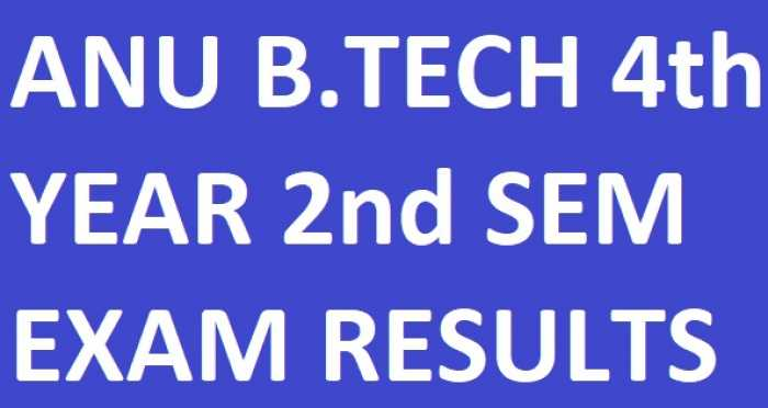 ANU B.Tech 4th Year 2nd Sem Results