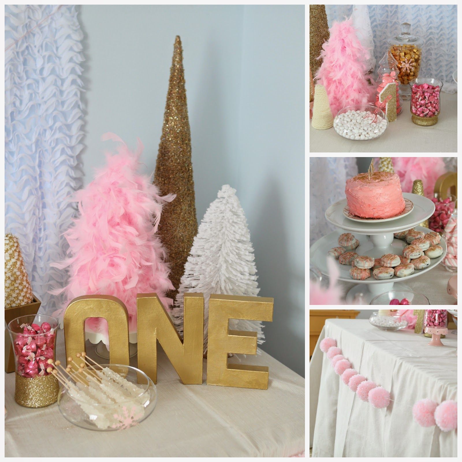White Pink And Gold First Birthday Cake And Smash Cake