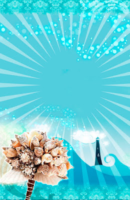 Tarjeta de Invitación Novedosa para Boda en Playa Bouquet de Caracoles