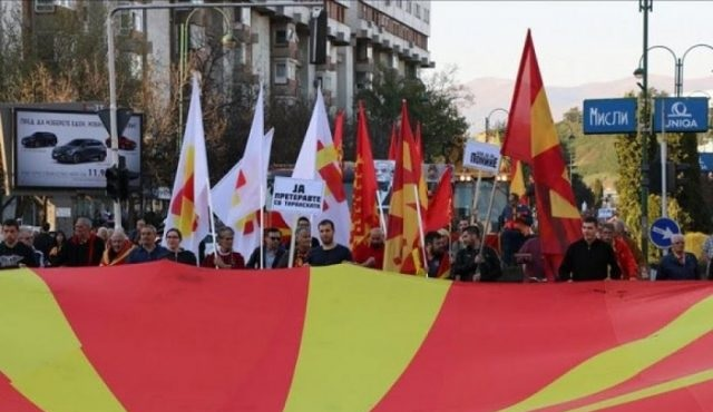 Anti-Albanian protesters in Macedonia set up tents in front of the Assembly