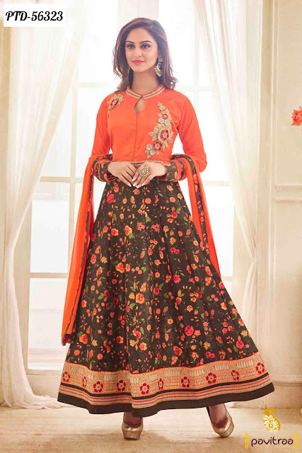 Beautiful Tv actress Jivika Krystal D'Souza orange color bhagalpuri anarkali salwar suit online shopping
