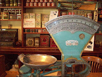 Old-fashioned scale in an old store museum
