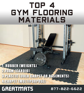 Greatmats top 4 gym flooring materials infographic