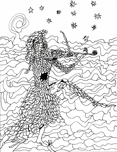 a tree playing the fiddle coloring page