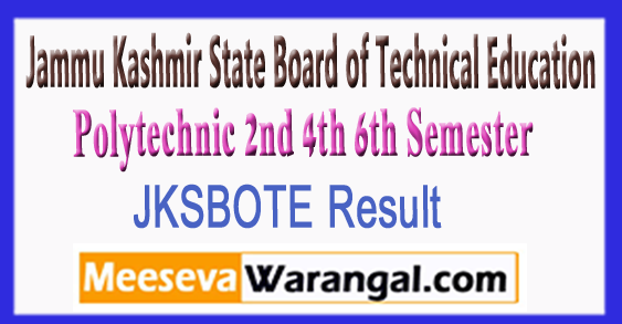 JKSBOTE Polytechnic 2nd 4th 6th Semester Result 2017