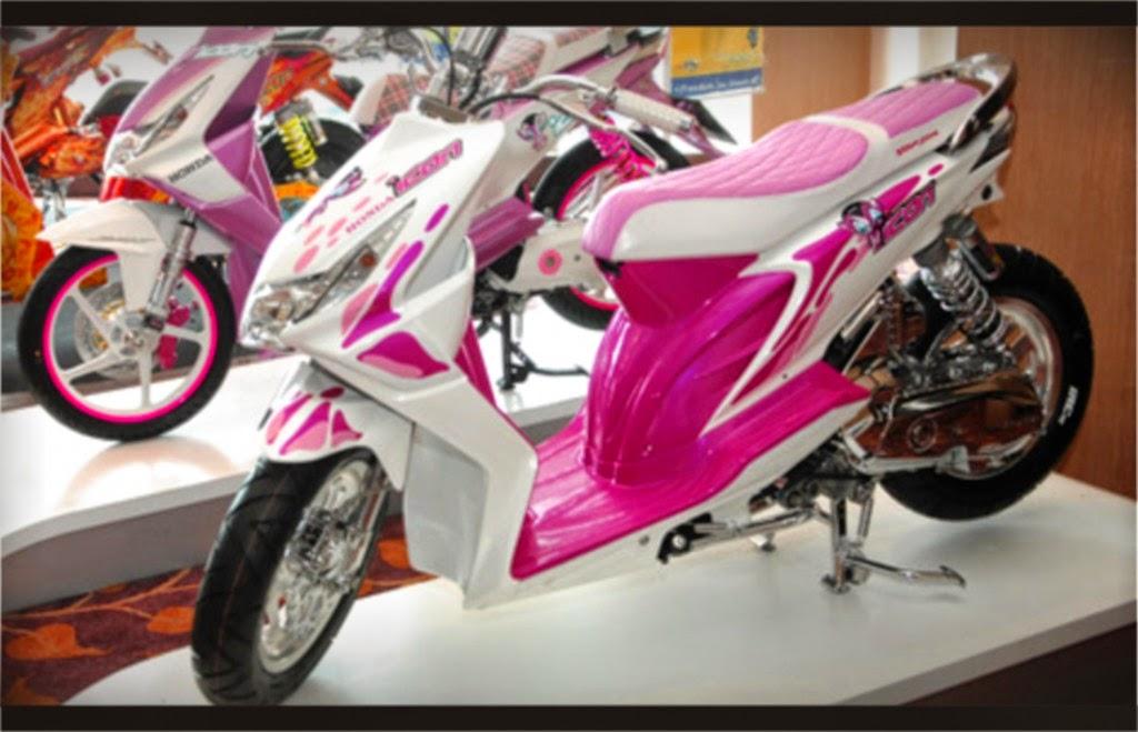 30 Inspirasi Baru Modifikasi Honda Beat Karbu Pink