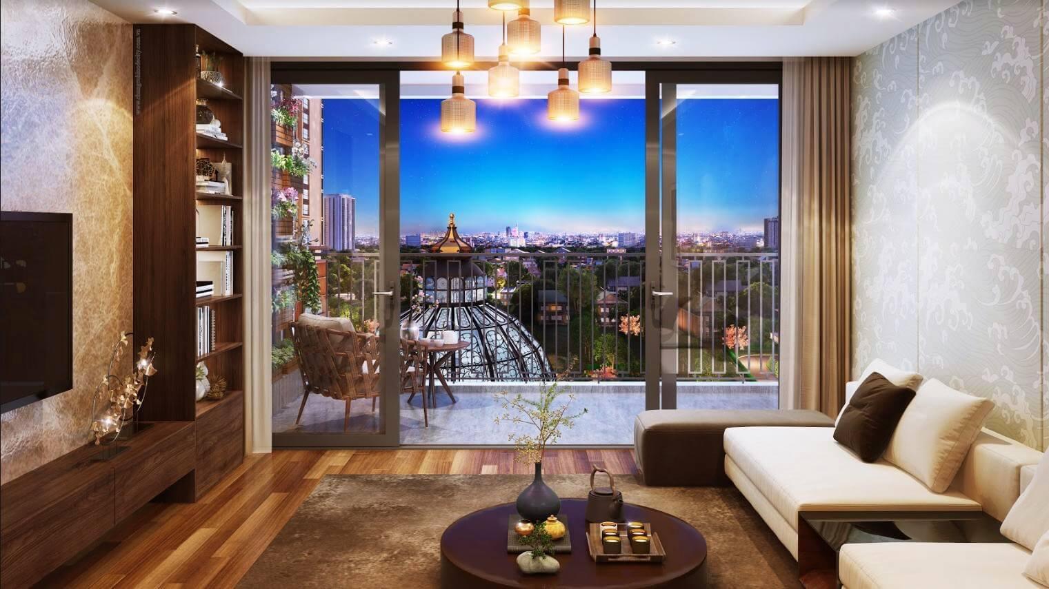 Ban công căn hộ chung cư 201 Minh Khai