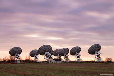 Mullard radio telescopes sunrise