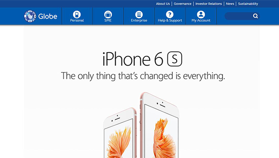 Globe Telecom iPhone 6s and iPhone 6s Plus Pre-register Page