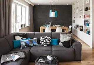sala gris turquesa