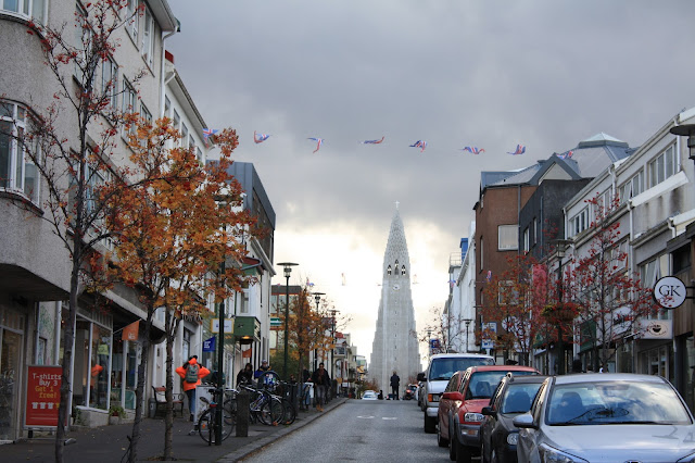 Hallgrimskirkja in Reykjavik warmed by autumn hues.