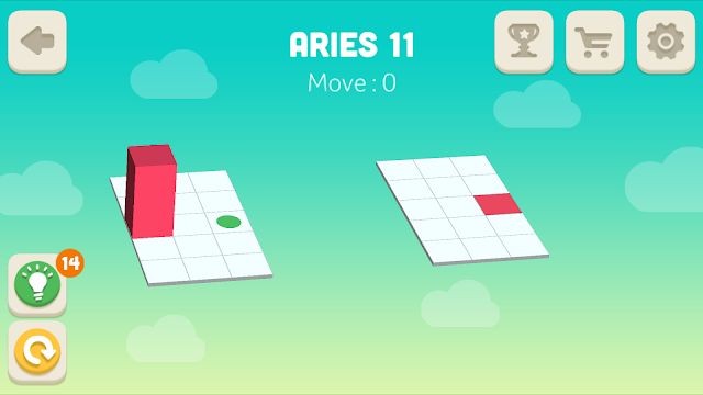 Bloxorz Aries Level 11 step by step 3 stars Walkthrough, Cheats, Solution for android, iphone, ipad and ipod