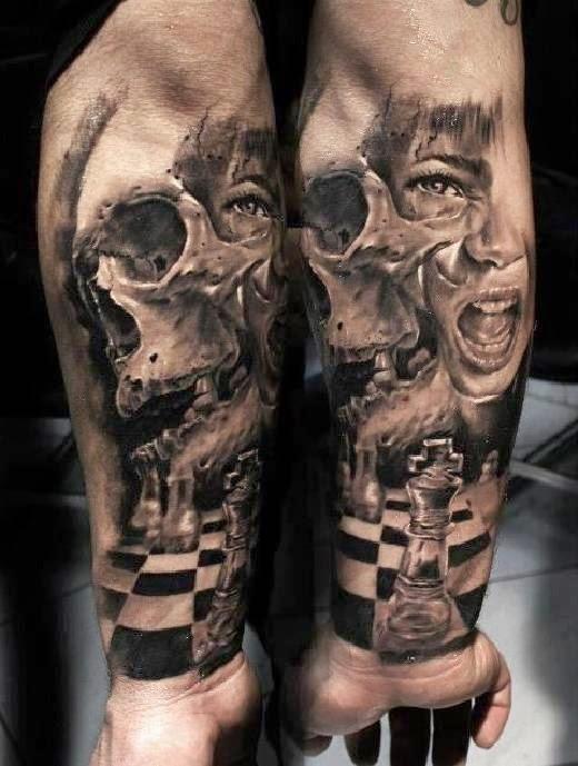 impresionante tatuaje en 3d de una calavera en grises