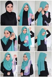 Tutorial hijab segi empat pipi tembem terkini