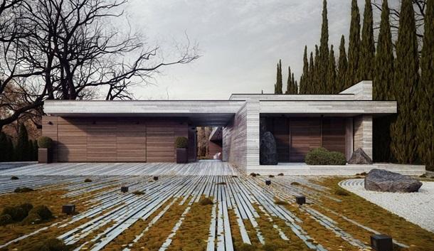 двор с бетонным с мощением из бетона