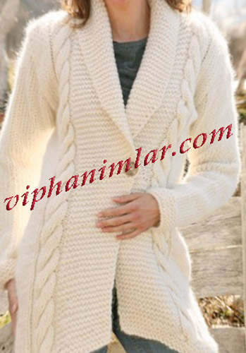 Krem Kışlık Uzun Hırka Modeli