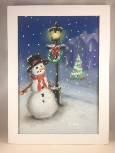 soft pastel painting frosty snowman Christmas SapiDesign