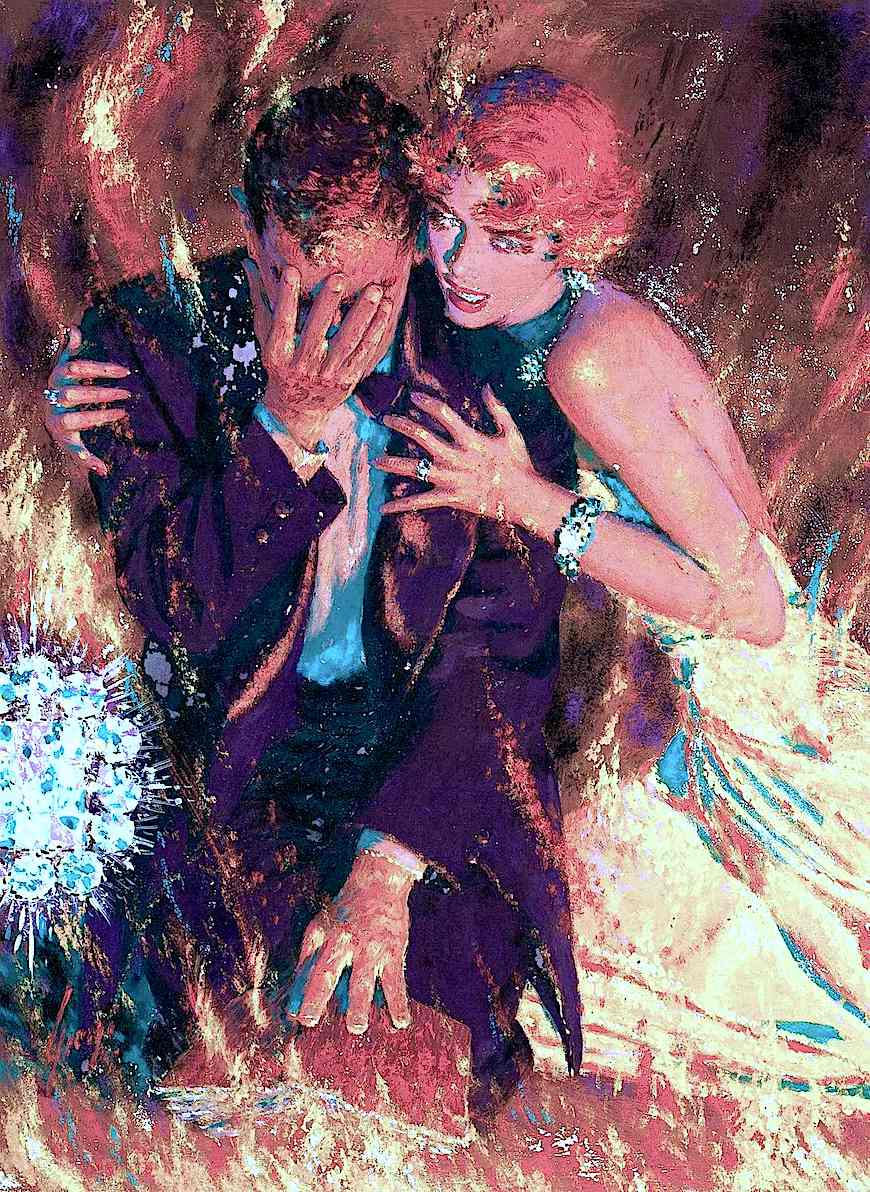 an Edwin Georgi illustration of a scheming couple in flames with diamonds