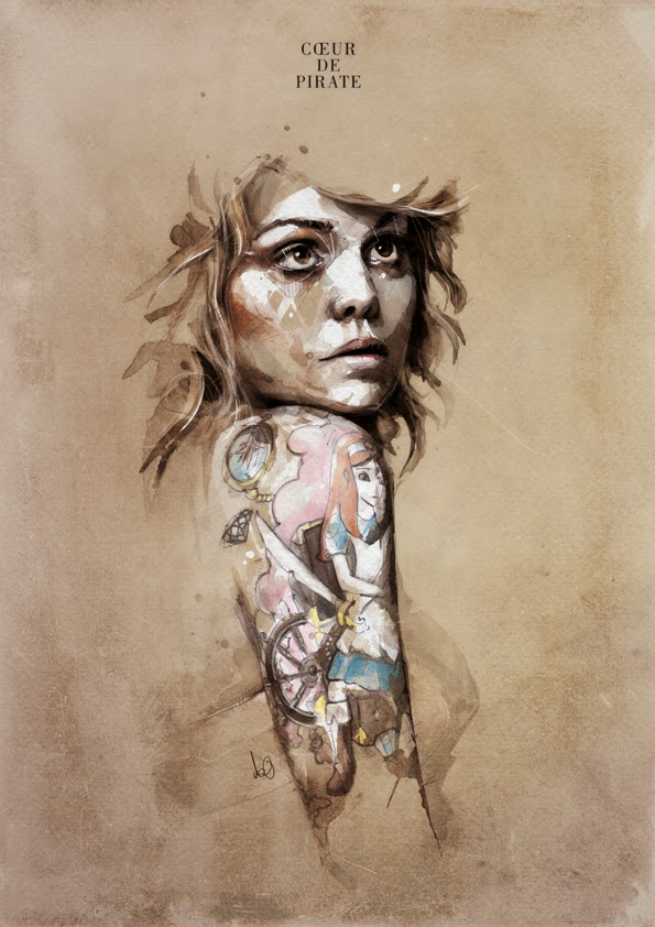 08-Coeur de Pirate-Florian-Nicolle-neo-Portrait-Paintings-focused-on-Expressions-www-designstack-co