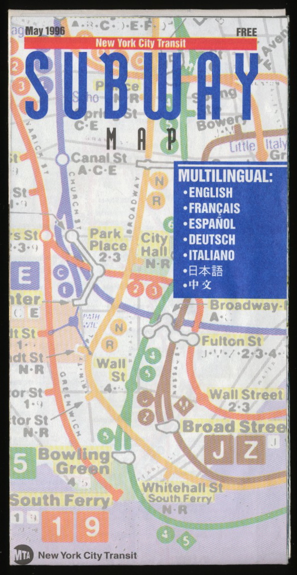 Tenth Letter of the Alphabet  Typography  New York City Subway Maps 1996