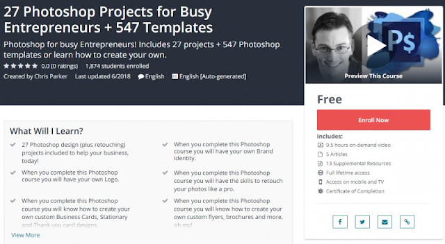 [100% Free] 27 Photoshop Projects for Busy Entrepreneurs + 547 Templates