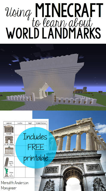 Using Minecraft to Learn About World Landmarks - includes FREE printable | Meredith Anderson - Momgineer