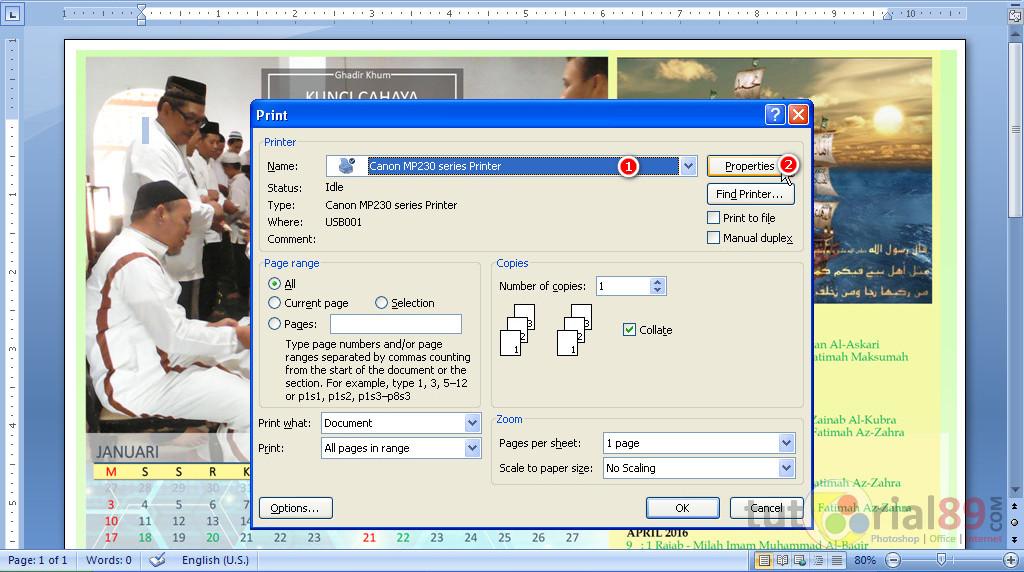 Cara Mudah Print A3 Dengan Kertas A4 Di Word Video Tutorial89