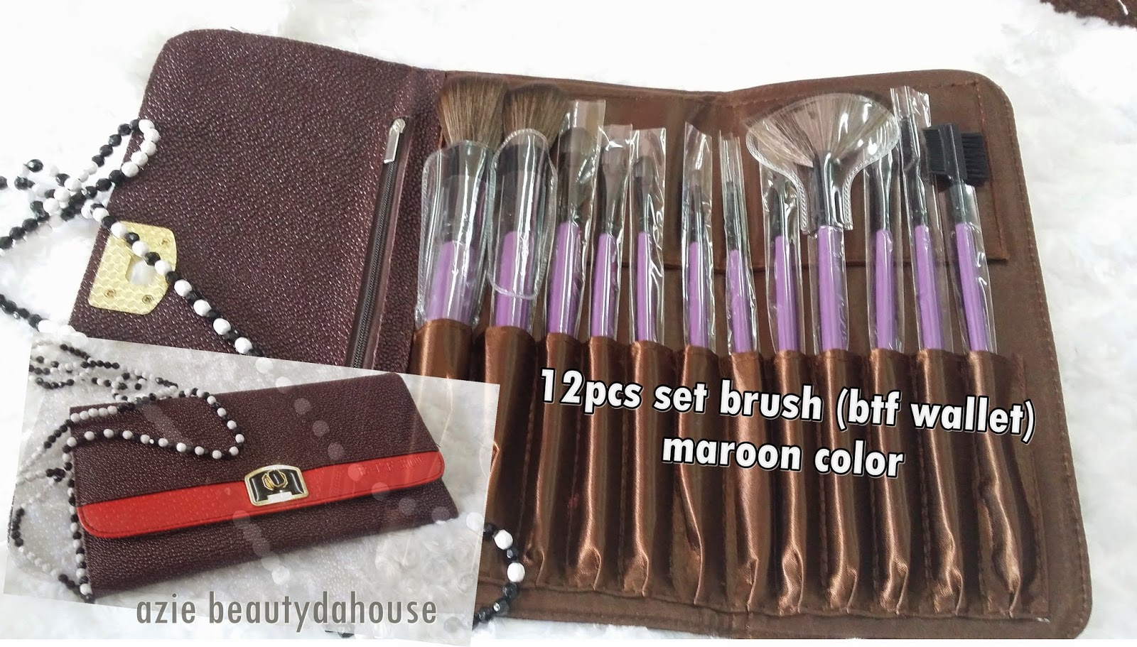 Azie Beauty Da House Makeup Brush Kluang All About Travelling Set  5pcs Soft Nylon Hair 12pcs Btf Wallet