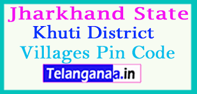 Khuti District Pin Codes in Jharkhand State