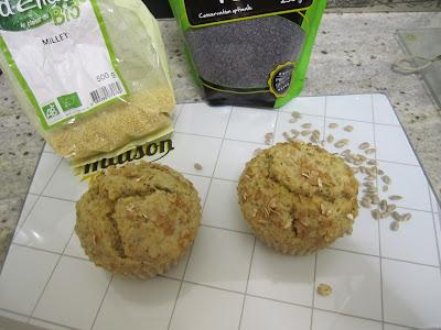 Muffins céréales et graines, millet, pavot, avoine