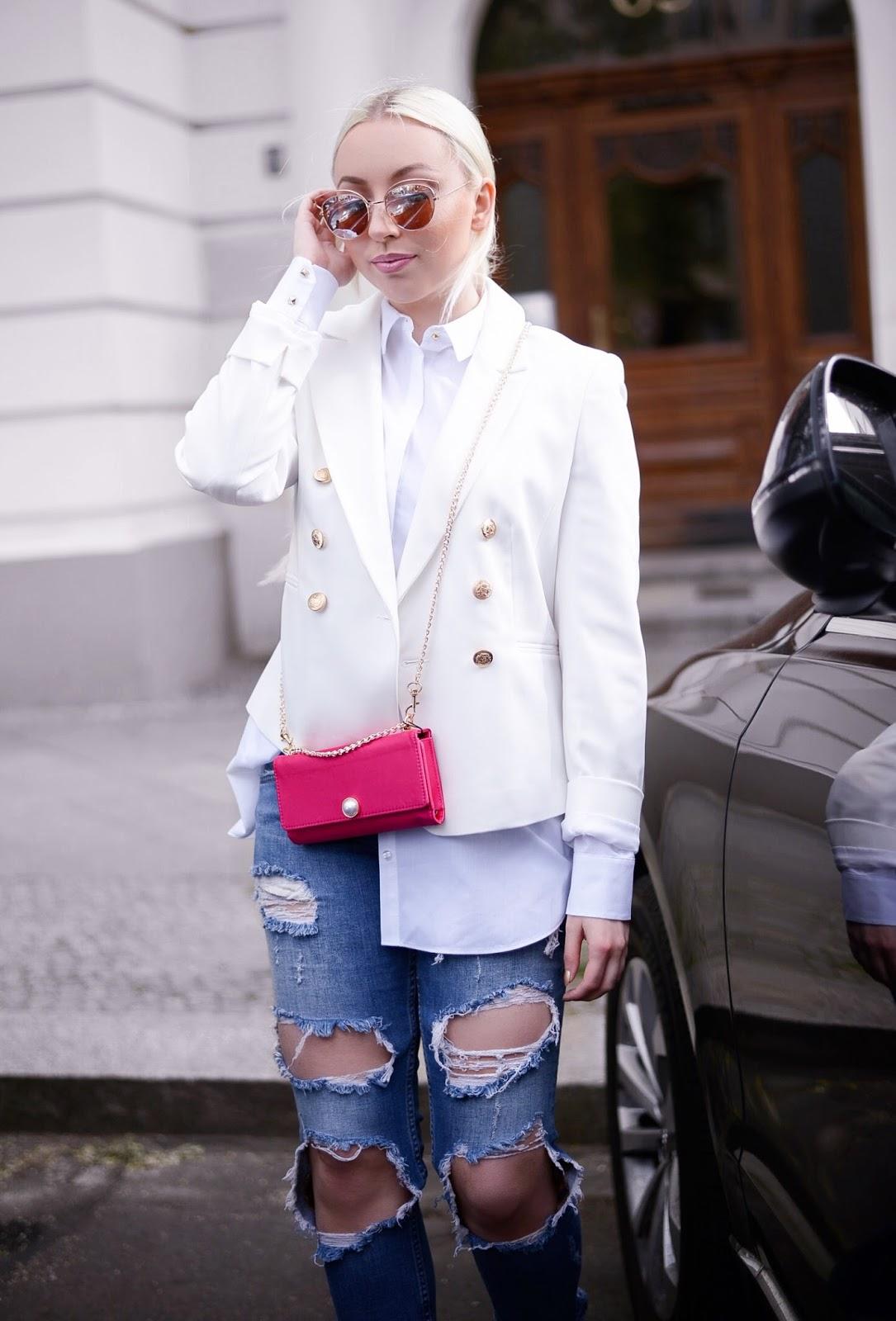 balmain inspired blazer_zara ripped jeans_miss selfridge blazer