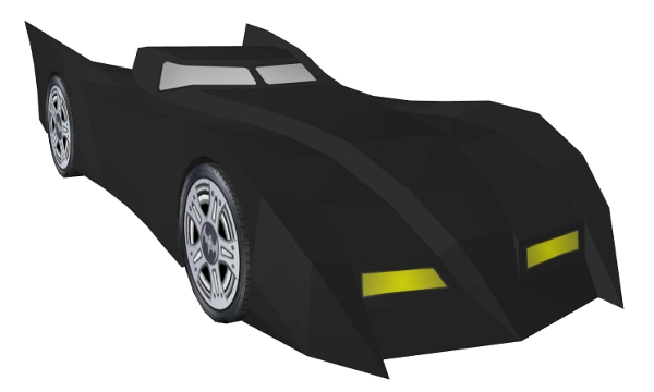 Finished model view 1 of Batmobile paper model/papercraft