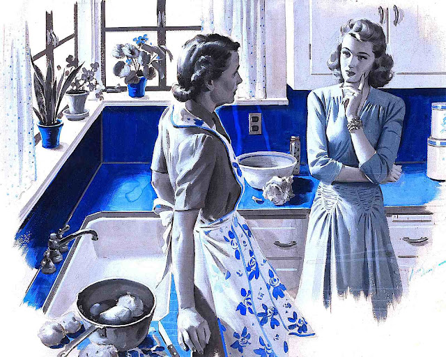 an Arthur Saron Sarnoff color illustration of two women talking in a kitchen in blue