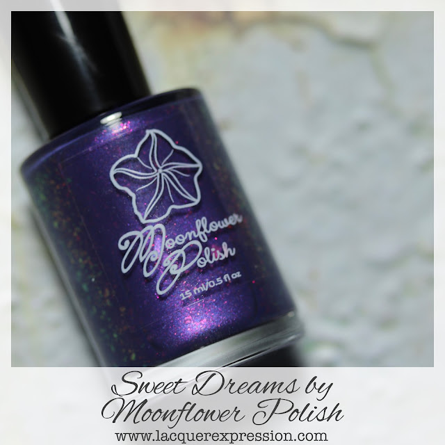 Nail polish swatch of Sweet Dreams, a Fantasmic Flakies Facebook Group custom by 5-free indie maker Moonflower Polish
