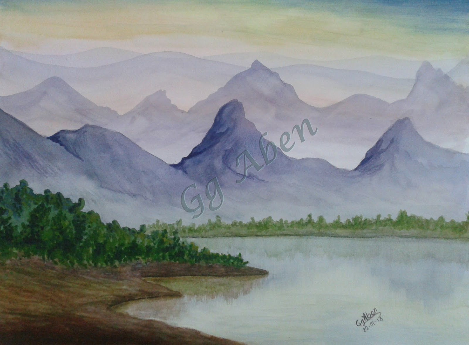 Garden Of Dreams Watercolor Painting Beauty Mountain