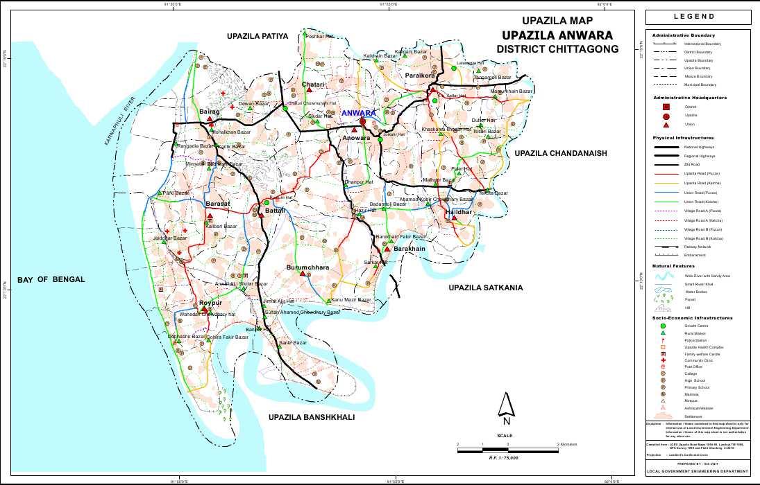 Anwara Upazila Map Chittagong District Bangladesh