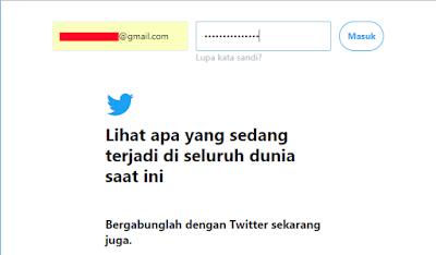 Login ke akun twitter