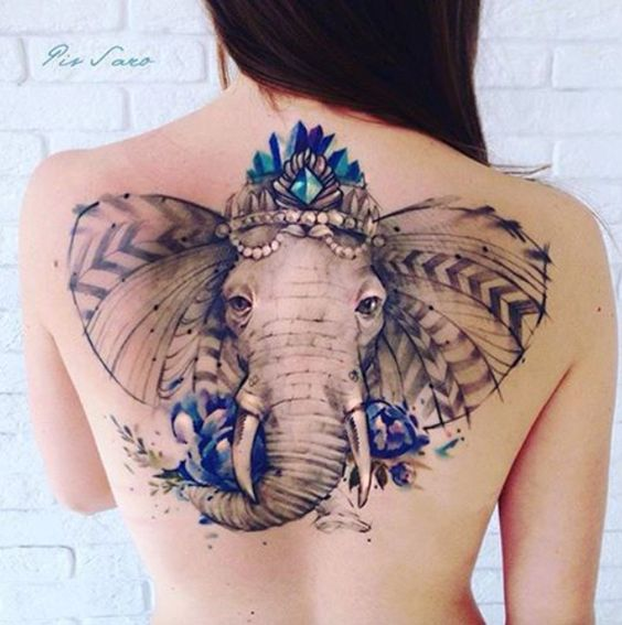 Stunning Elephant Tattoo For Women