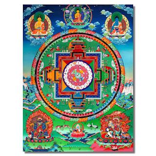 Tapiz de bandera budista impresa