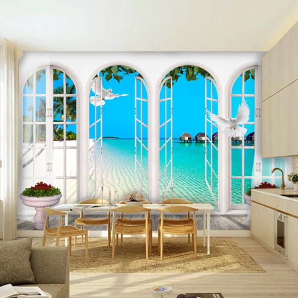 tapet fönster fototapet utsikt fondvägg tropisk strand hav palmer