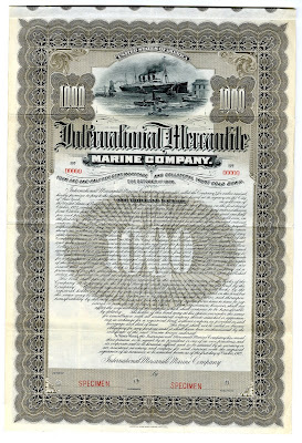 Titanic owner International Mercantile Marine Company bond