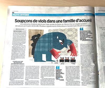 Clod illustration fait-divers pour le Parisien Aujourd'hui en France du 14 mars 2017