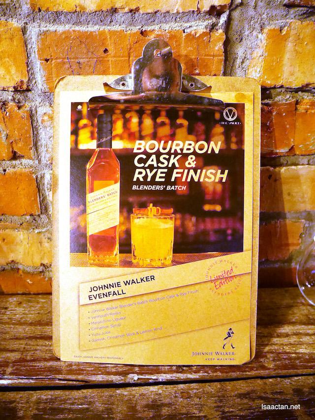 Johnnie Walker Evenfall, using Johnnie Walker Blenders' Batch Bourbon Cask & Rye Finish